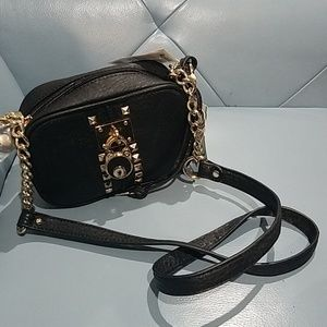 Vegan leather black crossbody